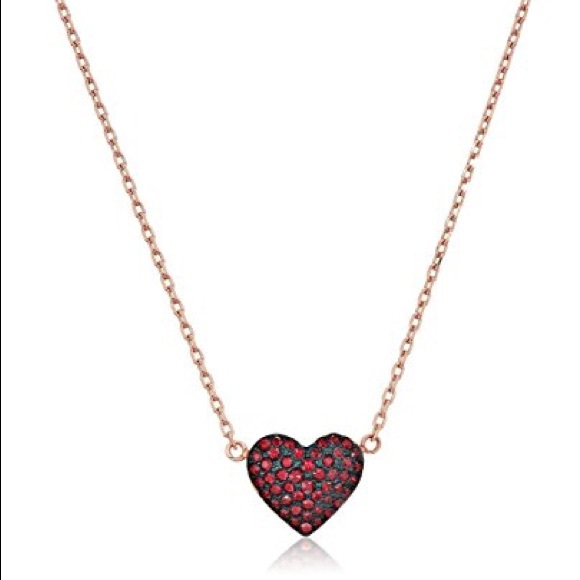926e42298a6402 Michael Kors Jewelry | Authentic Mk Red Pave Heart Rose Gold Tone ...